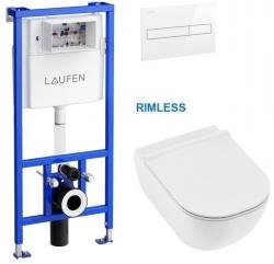 Rámový podomítkový modul CW1 SET s bílým ovládacím tlačítkem + JIKA Mio WC, Rimless + Mio WC sedátko SLIM (H8946600000001BI IO1) - AKCE/SET/LAUFEN