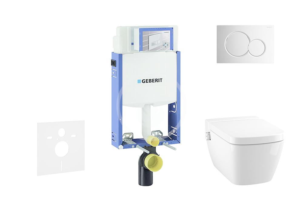 GEBERIT Kombifix Modul pro závěsné WC s tlačítkem Sigma01, lesklý chrom + Tece One sprchovací toaleta a sedátko, Rimless, SoftClose 110.302.00.5 NT2