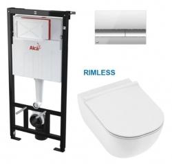 AKCE/SET/ALCAPLAST - SET Sádromodul - předstěnový instalační systém s chromovým tlačítkem M1721 + JIKA Mio WC, Rimless + Mio WC sedátko SLIM (AM101/1120 M1721 IO1)