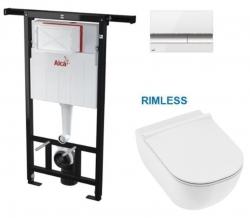 SET Jádromodul - předstěnový instalační systém s bílým/ chrom tlačítkem M1720-1 + JIKA Mio WC, Rimless + Mio WC sedátko SLIM (AM102/1120 M1720-1 IO1) - AKCE/SET/ALCAPLAST