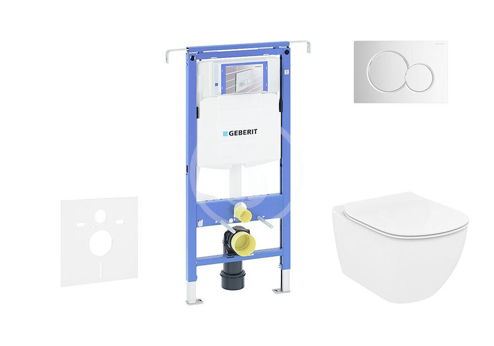 GEBERIT Duofix Modul pro závěsné WC s tlačítkem Sigma01, lesklý chrom + Ideal Standard Tesi WC a sedátko, Aquablade, SoftClose 111.355.00.5 NU2