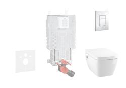 GROHE - Uniset Set předstěnové instalace, sprchovací toalety a sedátka Tece, tlačítka Skate Cosmo, Rimless, SoftClose, chrom (38643SET-KT)