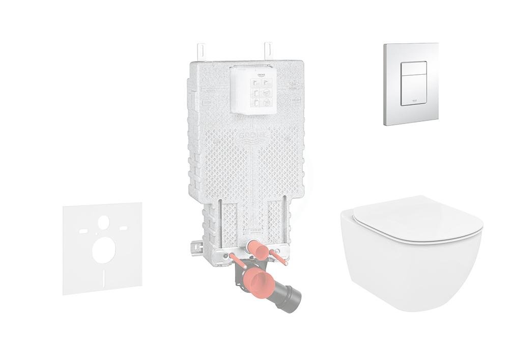GROHE Uniset Set předstěnové instalace, klozetu a sedátka Ideal Standard, tlačítka Skate Cosmo, Aqua