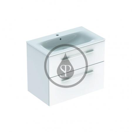 GEBERIT - Selnova Square Umyvadlová skříňka 635x788x480 mm, s umyvadlem, 2 zásuvky, lesklá bílá (501.240.00.1)