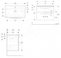GEBERIT - Selnova Square Umyvadlová skříňka 635x788x480 mm, s umyvadlem, 2 zásuvky, lesklá bílá (501.240.00.1), fotografie 2/2