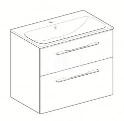 GEBERIT - Selnova Square Umyvadlová skříňka 635x788x480 mm, s umyvadlem, 2 zásuvky, lesklá bílá (501.240.00.1), fotografie 4/2