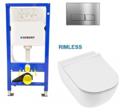 AKCE/SET/GEBERIT - SET Duofix Sada pro závěsné WC 458.103.00.1 s chromovým tlačítkem DELTA51 + JIKA Mio WC, Rimless + Mio WC sedátko SLIM (458.103.00.1 IO1)