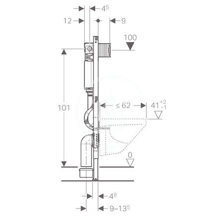 GEBERIT - Duofix Montážní prvek pro závěsné WC, 112 cm,splachovací nádržka pod omítku Omega 12 cm (111.060.00.1)
