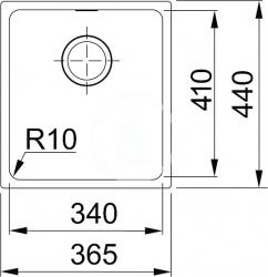 FRANKE - Sirius Tectonitový dřez SID 110-34, 365x440 mm, černá (125.0363.785), fotografie 2/1