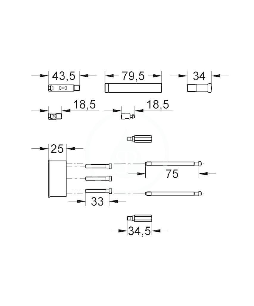 GROHE - Příslušenství Prodlužovací set 1/2, 25 mm, chrom (46191000)