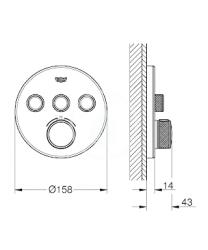 GROHE - Grohtherm SmartControl Termostatická vanová baterie pod omítku se 3 ventily, měsíční bílá (29904LS0), fotografie 2/1