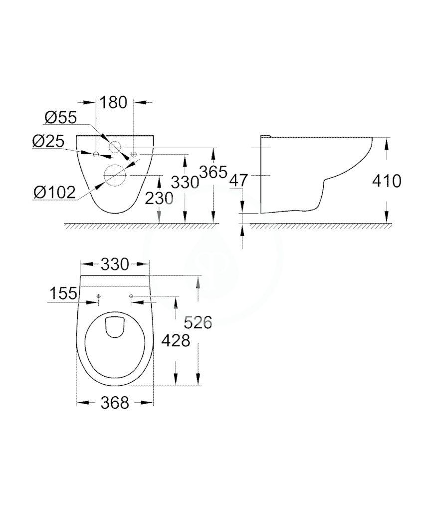 GROHE - Bau Ceramic Závěsné WC, alpská bílá (39491000)
