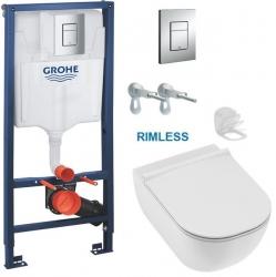 AKCE/SET/GROHE - Rapid SL pro závěsné WC 38528SET s chromovou deskou + JIKA Mio WC, Rimless + Mio WC sedátko Slowclose  SLIM (38772001 IO2)