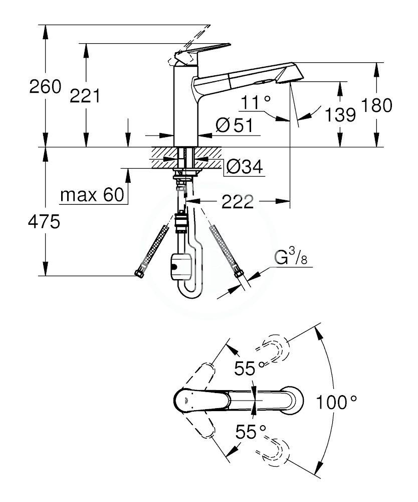 GROHE - Eurodisc Cosmopolitan Páková dřezová baterie, chrom (32257002)