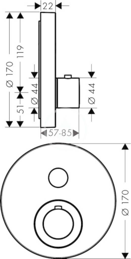 AXOR - ShowerSelect Termostat pod omítku pro 1 spotřebič, chrom (36722000)