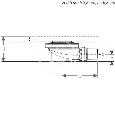 GEBERIT - Setaplano Sprchová odpadní souprava pro sprchovou vaničku Setaplano, výška vodního uzávěru 50 mm (154.016.00.1)