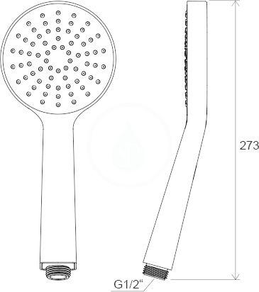 RAVAK - Sprchy Ruční sprcha Flat S 960.00, plochá, 1 funkce, průměr 100 mm, chrom (X07P343)