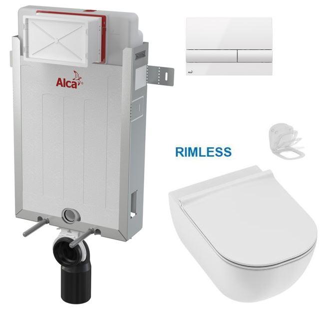 ALCAPLAST Renovmodul předstěnový instalační systém s bílým tlačítkem M1710 + WC JIKA MIO + SEDÁTKO S