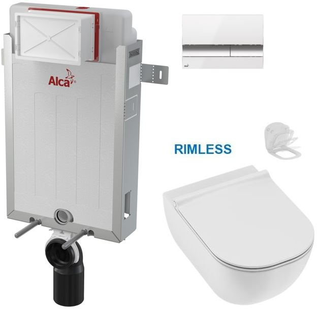 ALCAPLAST Renovmodul předstěnový instalační systém s bílým/ chrom tlačítkem M1720-1 + WC JIKA MIO +