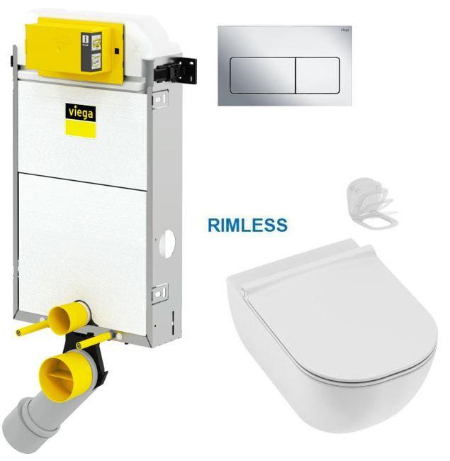 VIEGA Presvista modul PURE pro WC včetně tlačítka Life5 CHROM + WC JIKA MIO + SEDÁTKO SLIM Slowclose