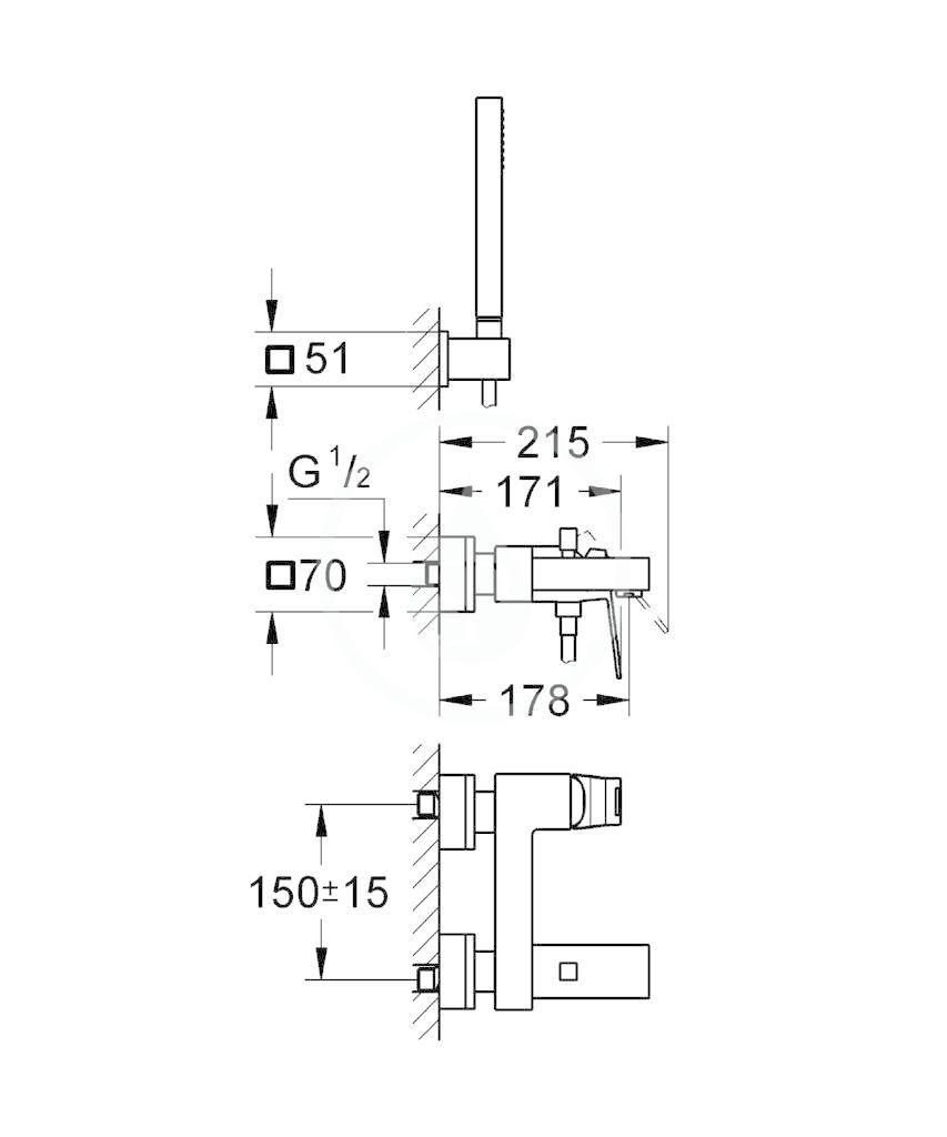 GROHE - Eurocube Páková vanová baterie, chrom (23141000)