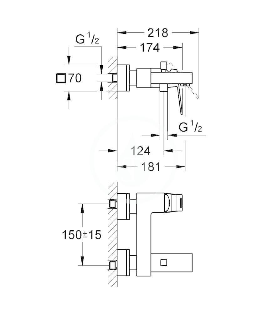 GROHE - Eurocube Páková vanová baterie, chrom (23140000)