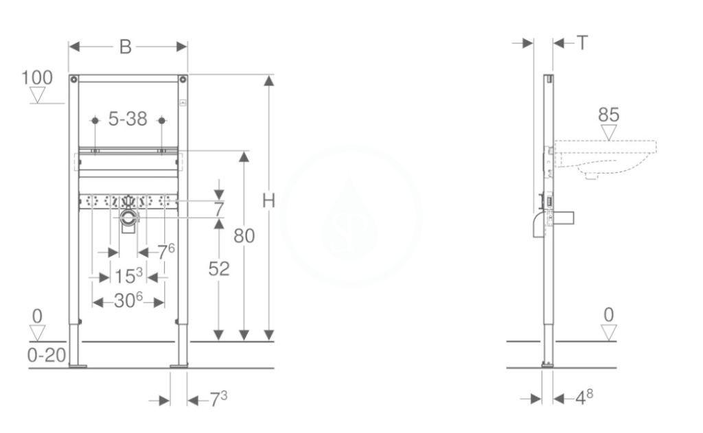GEBERIT - Duofix Montážní prvek pro umyvadlo, 112 cm, stojánková armatura (111.430.00.1)