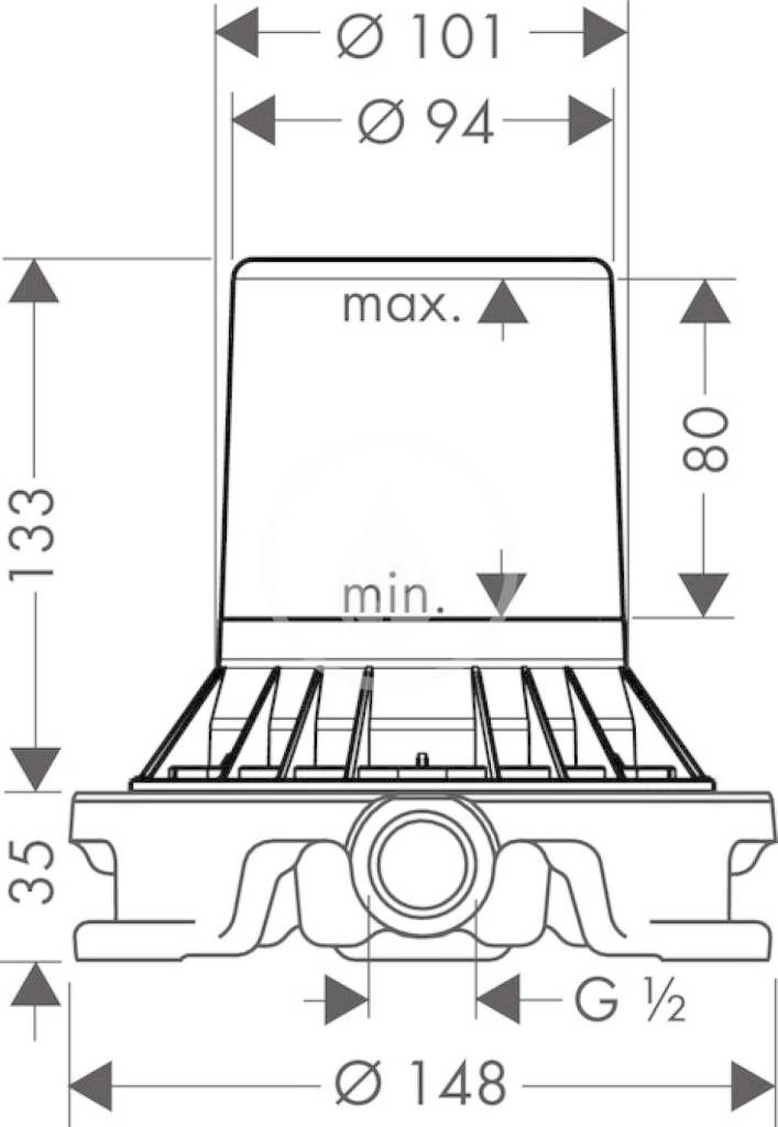 AXOR - Montážní tělesa Těleso pro baterii montovanou na podlahu (10452180)