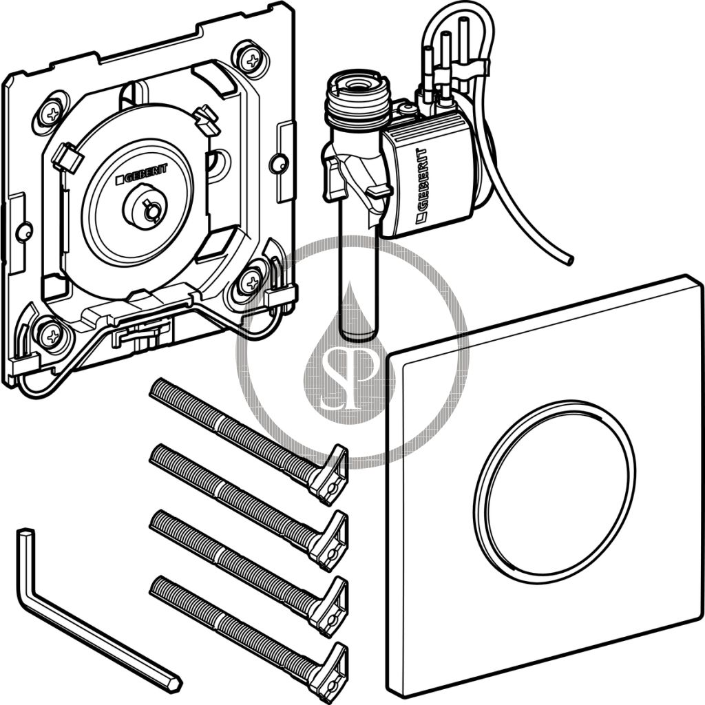 GEBERIT - Sigma10 Ovládání splachování pisoárů, ovládací tlačítko typ 10, nerezová ocel (116.015.SN.1)