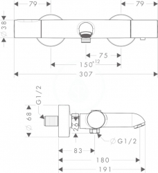 AXOR - Citterio M Vanová termostatická baterie, chrom (34435000), fotografie 2/3