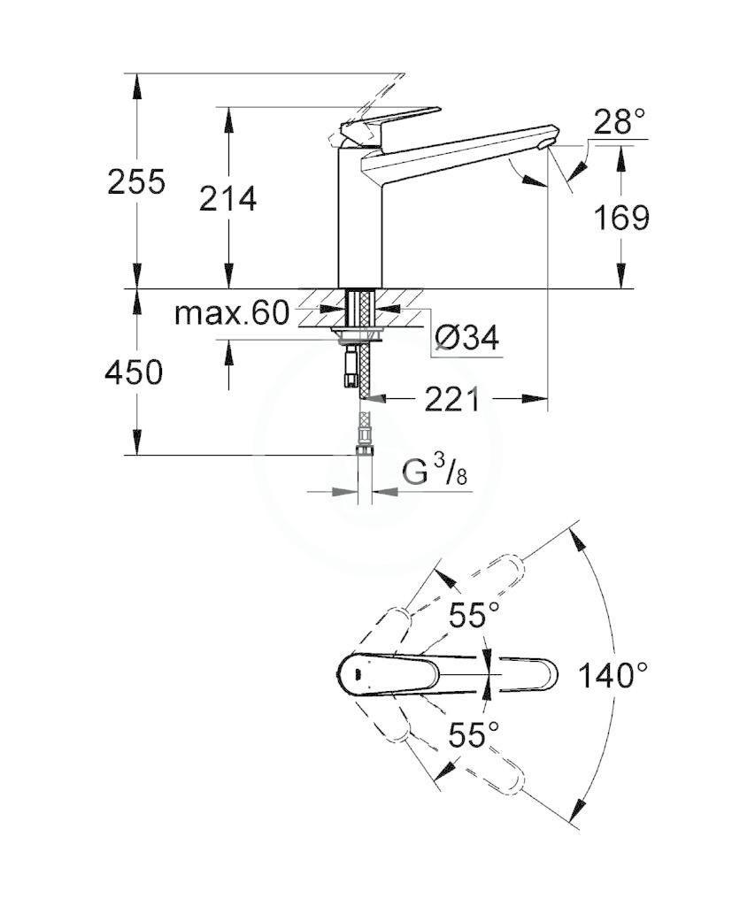 GROHE - Eurodisc Cosmopolitan Páková dřezová baterie, chrom (33770002)