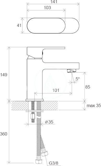 RAVAK - Chrome Umyvadlová stojánková baterie CR 012.00 bez výpusti, chrom (X070041)