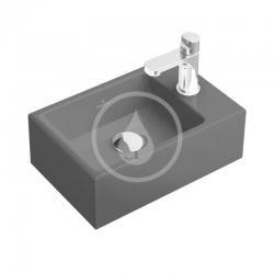 Memento Umývátko 400x260 mm, bez přepadu, 1 otvor pro baterii, CeramicPlus, Glossy Black (533341S0) - VILLEROY & BOCH