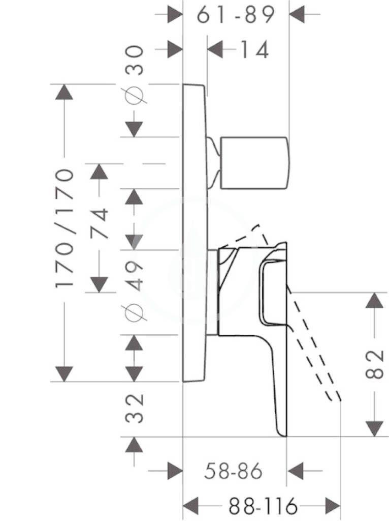 AXOR - Citterio E Páková vanová baterie pod omítku, chrom (36455000)