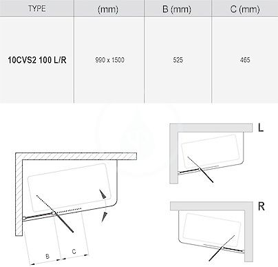 RAVAK - 10° Vanová zástěna dvoudílná 10CVS2, levá, 990x1500 mm, lesklý hliník/transparentní sklo (7QLA0C03Z1)