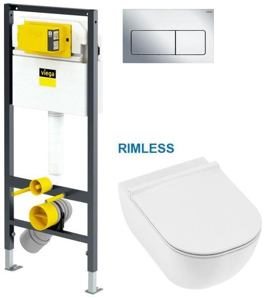 VIEGA Presvista modul DRY pro WC včetně tlačítka Life5 CHROM + WC JIKA MIO + SEDÁTKO SLIM V771973 LI