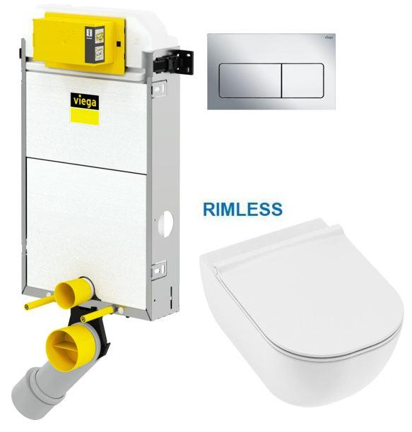 VIEGA Presvista modul PURE pro WC včetně tlačítka Life5 CHROM + WC JIKA MIO + SEDÁTKO SLIM V771928 L