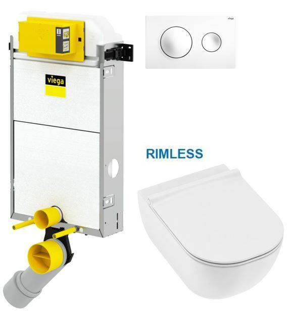 VIEGA Presvista modul PURE pro WC včetně tlačítka Style 20 bílé + WC JIKA MIO + SEDÁTKO SLIM V771928