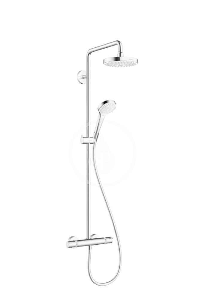 HANSGROHE Croma Select S Sprchový set Showerpipe 180 s termostatem, 2 proudy, EcoSmart 9 l/min, bílá/chrom 27254400