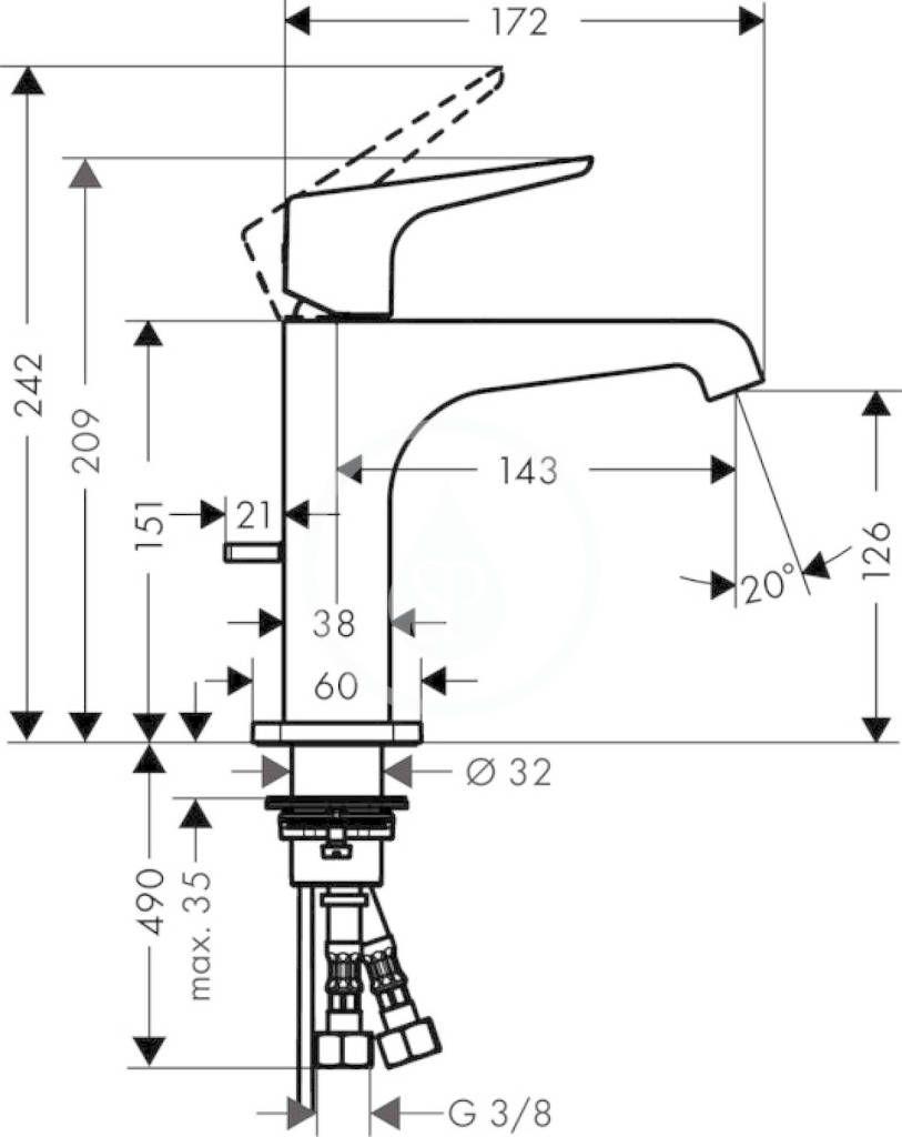 AXOR - Citterio E Páková umyvadlová baterie 125 s odtokovou soupravou, chrom (36110000)