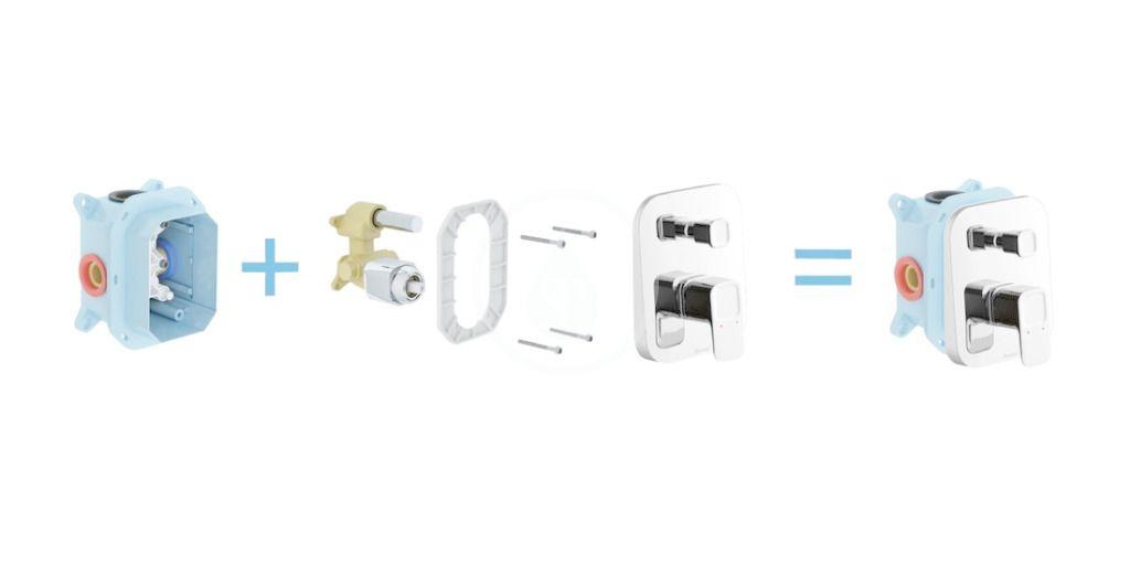 RAVAK - 10° Vanová baterie TD 065.00 pod omítku, pro R-box, chrom (X070070)