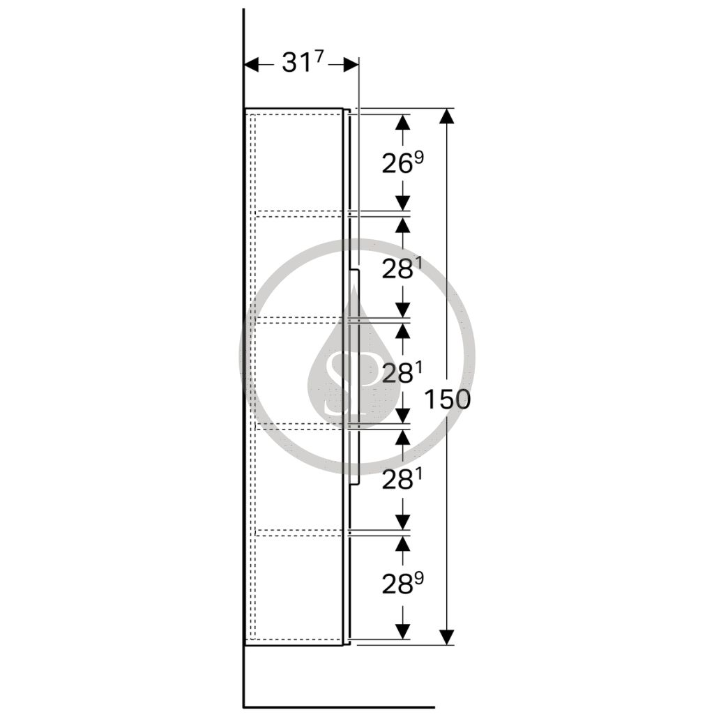 GEBERIT - iCon Vysoká skříňka s dvířky a zrcadlem, 360x1500x309 mm, platinová lesklá (840152000)