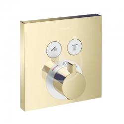 HANSGROHE - Shower Select Termostatická baterie pod omítku pro 2 spotřebiče, leštěný vzhled zlata (15763990)