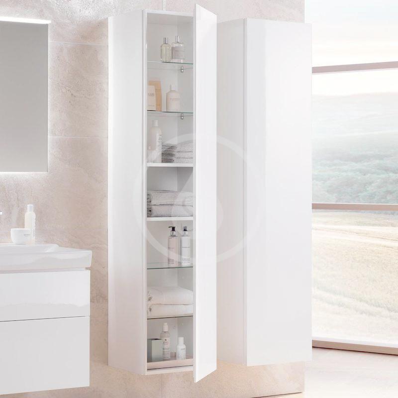 GEBERIT - Xeno 2 Skříňka vysoká 1700x400 mm, zrcadlo uvnitř, lesklá bílá (500.503.01.1)