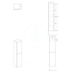 GEBERIT - Acanto Skříňka vysoká 1730x380 mm, dvoje dvířka, černá (500.619.16.1), fotografie 2/1