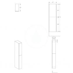 GEBERIT - Acanto Skříňka vysoká 1730x220 mm, dvě zásuvky, lesklá bílá (500.638.01.2), fotografie 2/1