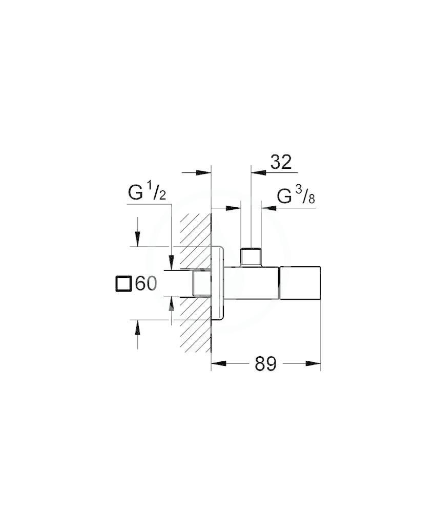 GROHE - Eurocube Rohový ventil, chrom (22012000)
