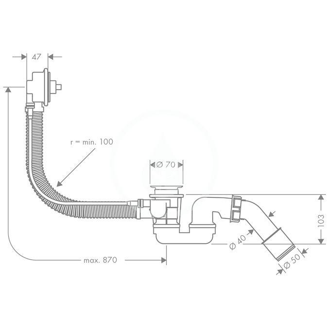 HANSGROHE - Flexaplus Základní těleso pro vrchní sadu s odtokovou a přepadovou soupravou pro speciální vany (58141180)