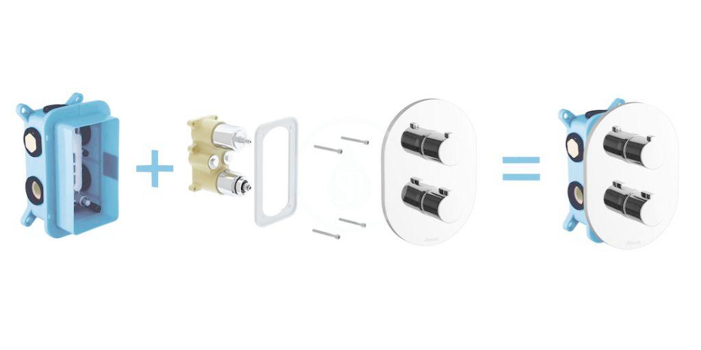 RAVAK - Termo Termostatická baterie CR 067.00 pod omítku, pro 3 spotřebiče a R-box, chrom (X070075)