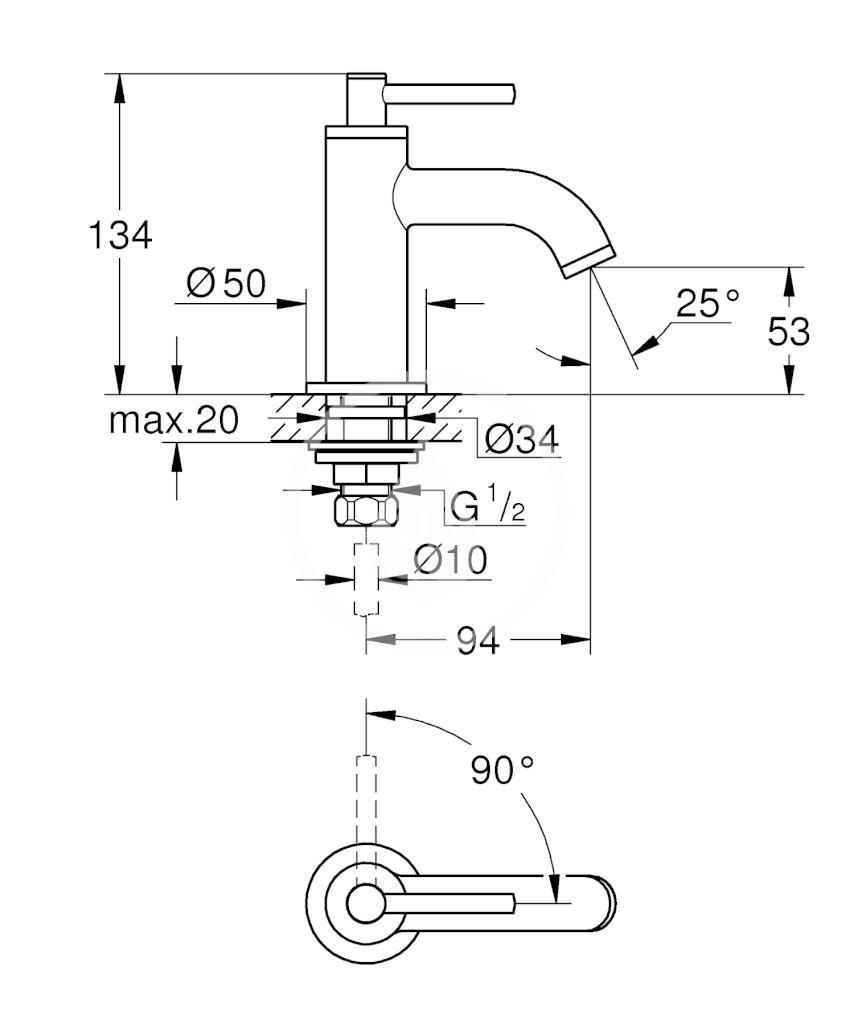 GROHE - Atrio Umyvadlový ventil, velikost XS, chrom (20021003)